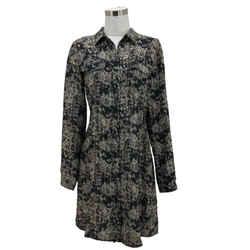 N1503 Theory Designer Dress Size 6 Small Brown Silk Snake Skin Shirt Button Down