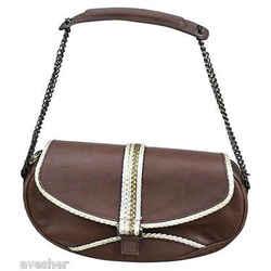 Giuseppe Zanotti Brown Leather Shoulder Bag Purse Handbag Gold Chain Unique