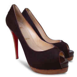 NEW CHRISTIAN LOUBOUTIN Altadama Astrakan Pony Hair Peep Toe Pumps-Brown-Size 39