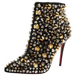 Christian Louboutin Black Leather Stud Embellished So Full Kate Ankle Boots
