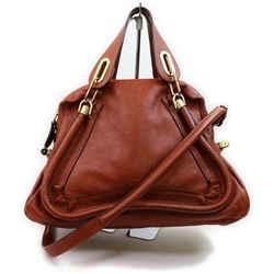 Chloe Brown Leather Paraty 2way Shoulder Bag 861716
