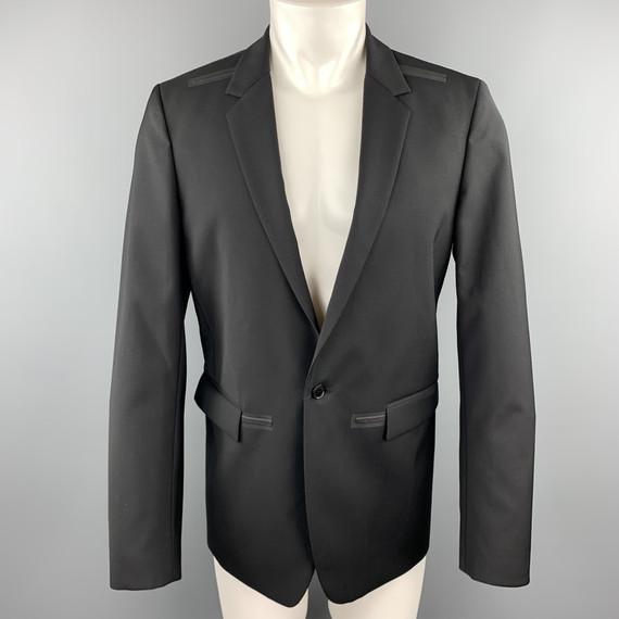 Calvin Klein Collection Size 38 Black Wool Rubber Piping Notch Lapel Blazer