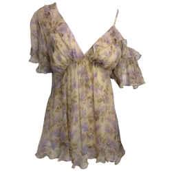 ZIMMERMANN Tan & Lilac Floral Silk Blouse