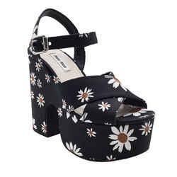 Miu Miu Black Daisy Gabardine Platform Sandals