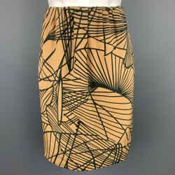 DRIES VAN NOTEN Size 4 Gold & Black Silk Print A-Line Skirt