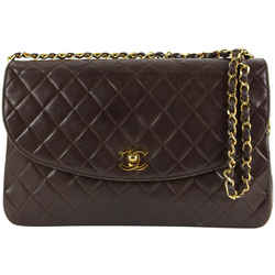 Chanel Chocolate Brown Quilted Lambskin Large Gold Chain Flap Bag  862402