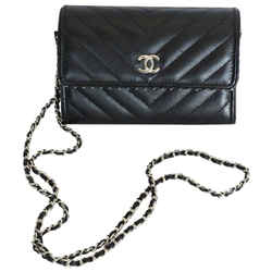 Chanel Wallet On Chain Chevron Calfskin 2018 Black Leather Cross Body Bag