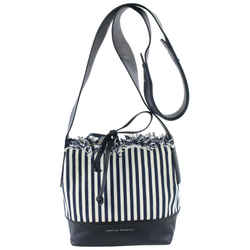 Loeffler Randall Navy Stripe Textile Crossbody Bucket Bag 18mz0731