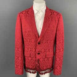 COMME des GARCONS HOMME PLUS Size XL Red Jacquard Cotton Blend Notch Lapel Jacket