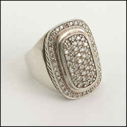 Rdc11208 Authentic David Yurman Sterling/18k White Gold Albion Diamond Ring