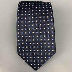 ERMENEGILDO ZEGNA Navy & White Dots Silk Tie