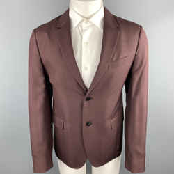 Valentino Size 38 Burgundy Silk Notch Lapel Sport Coat