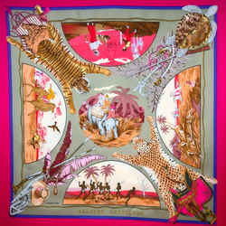 Chasses Exotiques Hermes Scarf By Philippe Ledoux 90 Cm Silk Twill Fuchsia Col.
