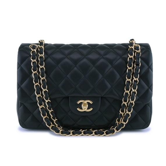 Chanel Black Lambskin Jumbo Classic Double Flap Bag GHW