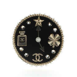 CC Clock Brooch Enamel and Metal with Crystals and Faux Pearls