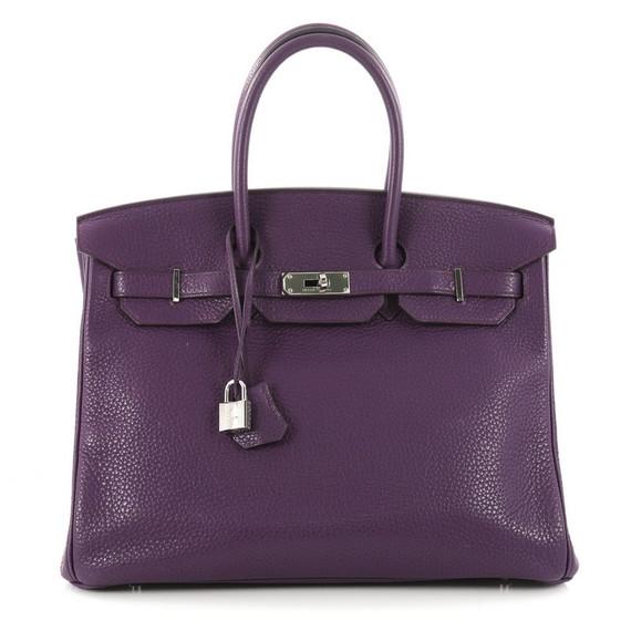Birkin Handbag Ultraviolet Purple Clemence With Palladium Hardware 35