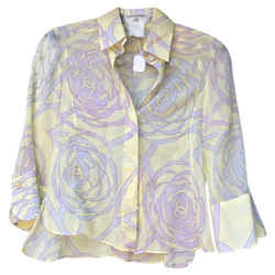 Chanel Pastel Cropped Button-down Top Size: 4 (S)