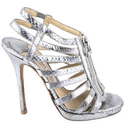 Jimmy Choo Snake-print Gladiator Sandal Silver Size 6.5 Authenticity Guaranteed