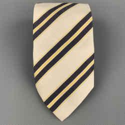 ERMENEGILDO ZEGNA Beige & Yellow Diagonal Stripe Silk / Cotton Tie