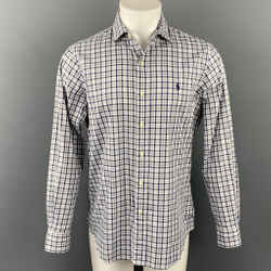 POLO by RALPH LAUREN Size M White & Navy Plaid Button Up Long Sleeve Shirt