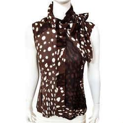 Hermes Scarf-neck Blouse Silk Crepe Georgette w/Hola Flamenca Print Sleeveless Sz 40