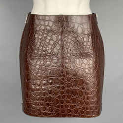 GIVENCHY SS 2021 Size 4 Brown Crocodile Effect Vintage Leather Mini Skirt