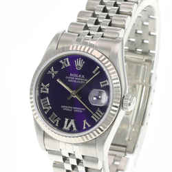 Rolex Datejust Midsize Purple Diamond Dial SS Fluted Bezel 31mm Jubilee Watch