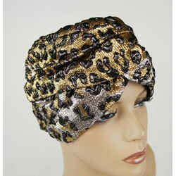 Gucci Gold And Silver Metallic Leopard Print Turban Headband S/56 476538 7060