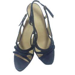BOTTEGA VENETA Black Satin and Leather Beaded Slingback Heels Size 8
