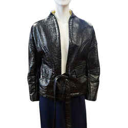 Christian Lacroix New S/s 2008 Runway Glossy Open Front Belted 42 Black Jacket