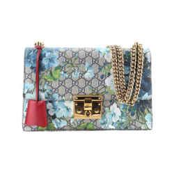 Gucci Padlock Blooms Blue Beige Gg Leather Shoulder Bag