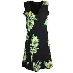 Proenza Schouler Black Floral Printed Sleeveless Silk Dress