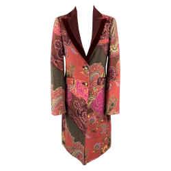 Paisley Velvet Trim Coat