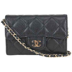 Chanel Black Quilted Caviar Leather Mini Classic Flap Chain Belt Bag 107c727