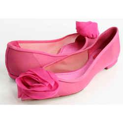 Christian Dior Rosette Pointy Toe Ballet Flats