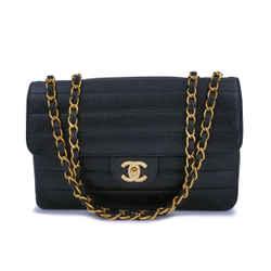 Chanel Vintage Black Caviar Medium Horizontal Classic Flap Bag 24k GHW