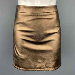 REBECCA MINKOFF Size 6 Gold Leather Mini Skirt