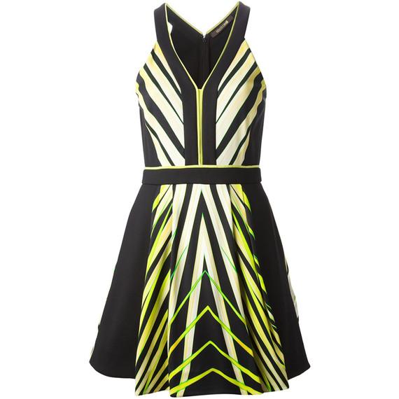 sz 42 NEW $2,560 ROBERTO CAVALLI  Black with Yellow Modern Abstract Print Dress