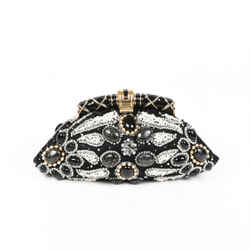 Bulgari Bag Aida Black Gold Beaded Crystal Satin Clutch