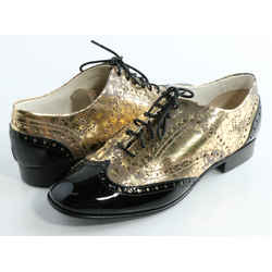 Chanel Patent Brogue Leather Lace-Up Oxford