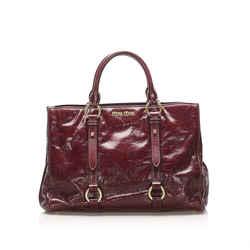 Vintage Authentic Miu Miu Red Bordeaux Calf Leather Vitello Shine Satchel France