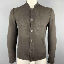John Varvatos Size M Brown Waffle Knit Linen Nehru Collar Cardigan