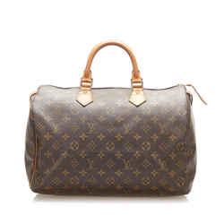 Vintage Authentic Louis Vuitton Brown Monogram Speedy 35 France