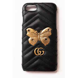 NEW $390 GUCCI Black GG Marmont 2.0 Matelasse Leather IPHONE 7 CASE GOLD MOTH