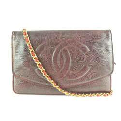 Chanel Bordeaux Burgundy Caviar Leather Wallet on Chain Flap Bag WOC 862149