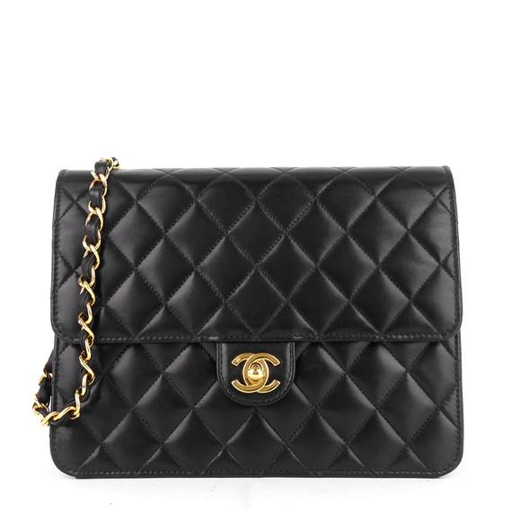 Single Flap Lambskin Leather Shoulder Bag