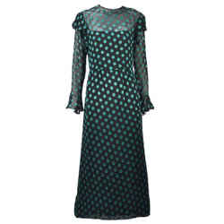 1980s Christian Dior Green Embroider Dress