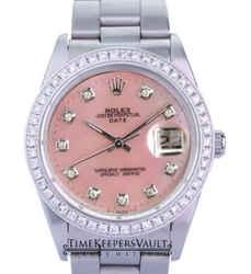 Rolex Oyster Perpetual Date Pink Mop Diamond Dial Diamond Bezel 34mm