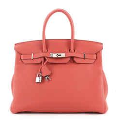 Birkin Handbag Geranium Togo with Palladium Hardware 35
