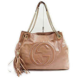 Gucci Rose Blush Pink Patent Fringe Tassel Soho Chain Tote 861566